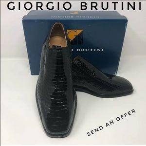 Giorgio Brutini Genuine Snakeskin Loafers 7M NWT